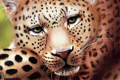 Digital Art - Leopard Resting by Angela Murdock