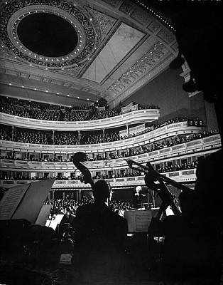Indoors Photograph - Leopold Stokowski Conducting The New by Gjon Mili