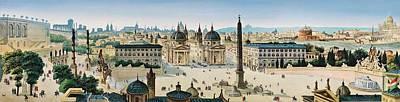 Painting - Leopoldo Calvi - Panorama Of Rome by Leopoldo Calvi