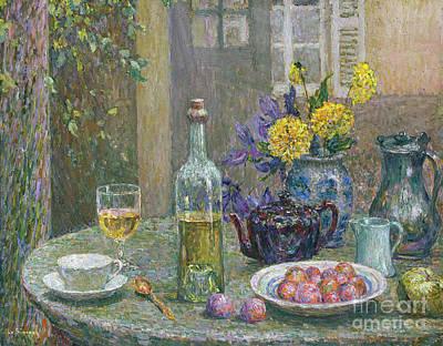 Painting - Les Dahlias Jaunes by Henri Eugene Augustin Le Sidaner