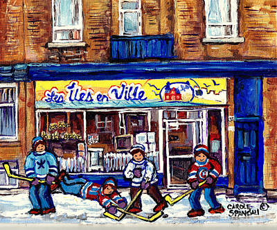 Painting - Les Iles En Ville Resto Bistro Hockey Art Verdun Paintings C Spandau Wellington Winter Street Scene by Carole Spandau