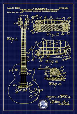 Digital Art - Les Paul Guitar Patent Drawing by Carlos Diaz