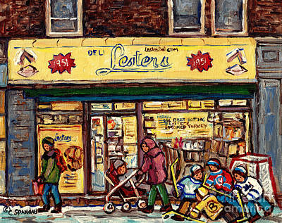 Painting - Lester's Deli Boys Of Bernard Hockey Art Mile End Montreal Best Beef Hot Dogs C Spandau Quebec Art by Carole Spandau