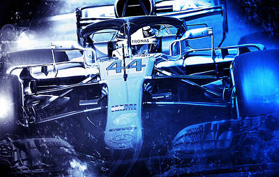 Digital Art - Lewis Hamilton, Mercedes Amg F1 W09 - 08  by Andrea Mazzocchetti
