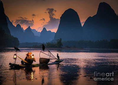 Photograph - Li River Twilight Glow by Inge Johnsson