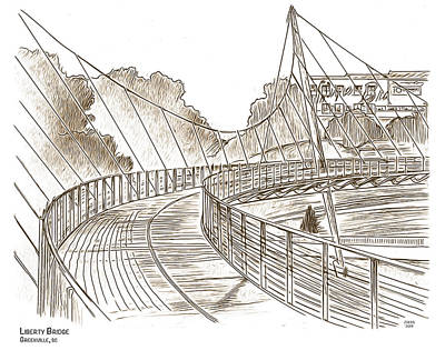 Drawings Rights Managed Images - Liberty Bridge 3 Royalty-Free Image by Greg Joens