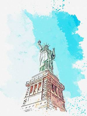 1-war Is Hell Royalty Free Images - Liberty -  watercolor by Ahmet Asar Royalty-Free Image by Ahmet Asar