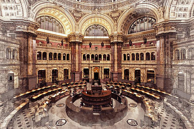 Digital Art - Library Of Congress Main Reading Room by Ruth Moratz
