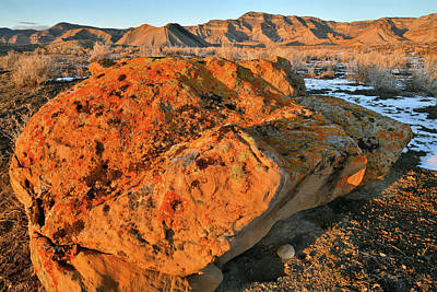 Photograph - Lichen Covered Boulders At Sunset In Book Cliffs by Ray Mathis