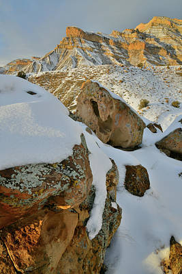 Photograph - Lichen Covered Boulders Beneath Snow In The Book Cliffs by Ray Mathis