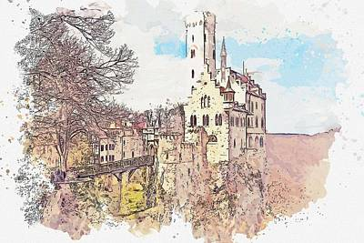 Kids Cartoons - LICHTENSTEIN CASTLE -  watercolor by Ahmet Asar by Celestial Images