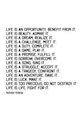 Photograph - Life Is By Mother Teresa #minimalism #inspirational by Andrea Anderegg