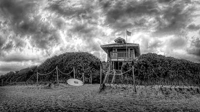 Photograph - Lifeguard Stand At The Beach In Black And White by Debra and Dave Vanderlaan