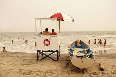 Rear View Photograph - Lifeguard Tower On A Beach, Atlantic by David Aschkenas