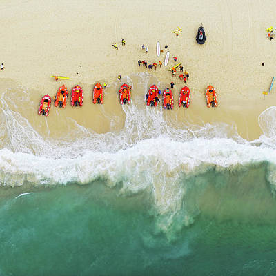 Photograph - Lifeguards Boats On The Beach by Tommy Clarke