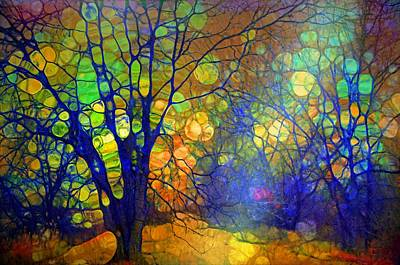 Digital Art - Light Amongst The Blue Trees by Tara Turner