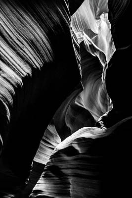 Photograph - Light And Shadows Of Arizona's Antelope Canyon - Black And White by Gregory Ballos