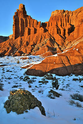 Photograph - Light Fading On Chimney Rock In Capitol Reef Np by Ray Mathis
