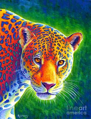 Painting - Light In The Rainforest - Jaguar by Rebecca Wang