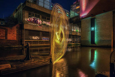 Photograph - Light Painting On The Canal by Chris Fletcher