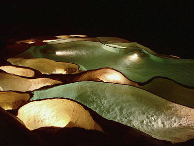 Photograph - Light Up The Dark - Lit Natural Rock Water Basins In Underground Cave by Menega Sabidussi