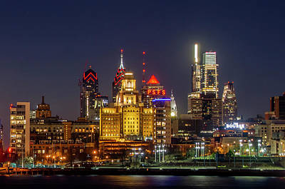Photograph - Lighted Cityscape - Philadelphia by Bill Cannon