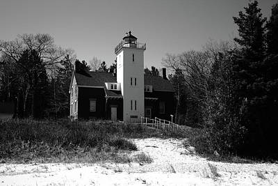 Photograph - Lighthouse - 40 Mile Point Michigan 2 Bw by Frank Romeo
