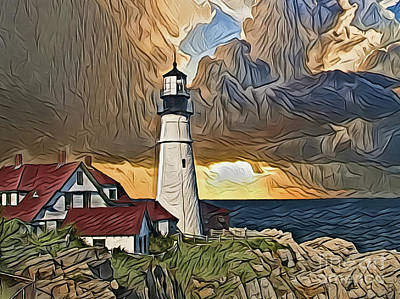 Painting - Lighthouse A18-56 by Ray Shrewsberry