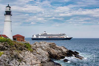 Photograph - Lighthouse and Cruise Ship by David Harwood