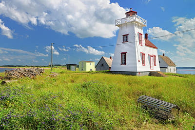 Trapped Photograph - Lighthouse And Lobster Traps, North by Mike Grandmaison