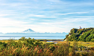 Photograph - Lighthouse And Volcano On The Cook Inlet In Alaska by Patrick Wolf