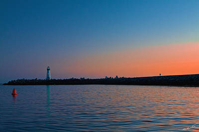 Photograph - Lighthouse At Harbor Deep Sunset by SC Heffner