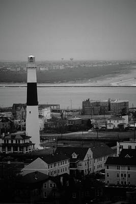 Photograph - Lighthouse - Atlantic City Bw by Frank Romeo