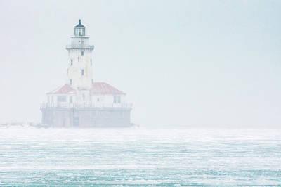 Lighthouse In The Mist Art Print