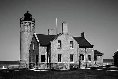Photograph - Lighthouse - Mackinac Point Michigan 3 Bw by Frank Romeo