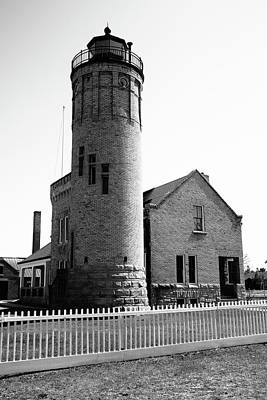 Just Desserts - Lighthouse - Mackinac Point Michigan 4 BW by Frank Romeo