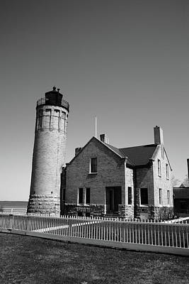 Photograph - Lighthouse - Mackinac Point Michigan 5 Bw by Frank Romeo