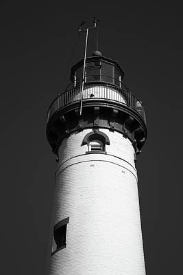 Photograph - Lighthouse - Presque Isle Michigan 3 Bw by Frank Romeo