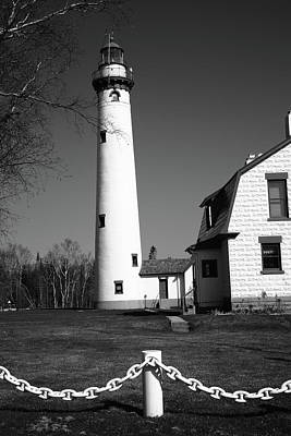 Photograph - Lighthouse - Presque Isle Michigan Bw 4 by Frank Romeo