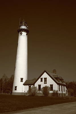 Photograph - Lighthouse - Presque Isle Michigan Sepia by Frank Romeo