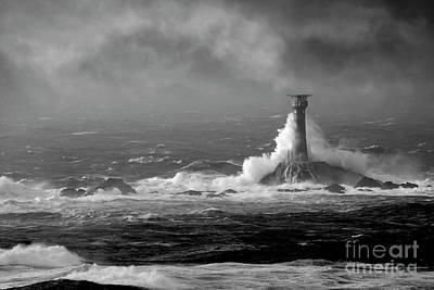 Photograph - Lighthouse Storm In Monochrome by Terri Waters