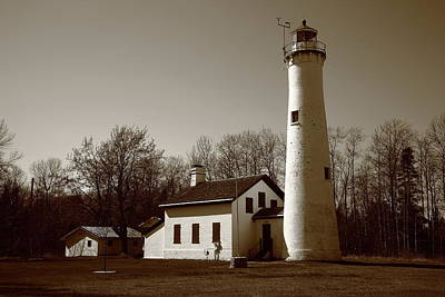 Photograph - Lighthouse - Sturgeon Point Michigan Sepia by Frank Romeo