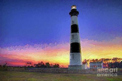 Painting - Lighthouse Sunset Ap by Dan Carmichael