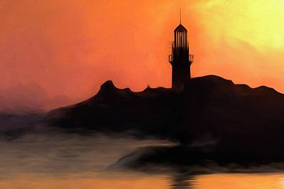 Beer Blueprints - Lighthouse Sunset Impressionism  by David Pyatt
