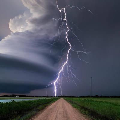 Lightning Bolt From A Super-cell Art Print by John Finney Photography