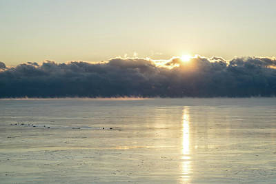 Photograph - Like Smoke On The Water - Polar Vortex Sunrise by Georgia Mizuleva