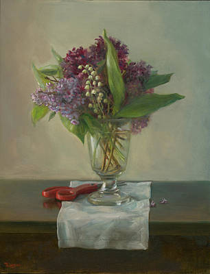 Painting - Lilacs and Lily-of-the-Valley by Thimgan Hayden