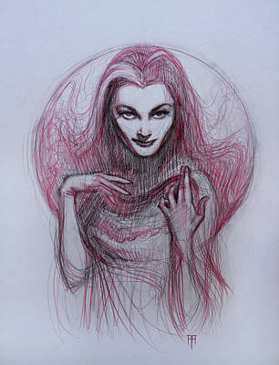 Lilies Drawings - Lily Munster by Alex Ruiz