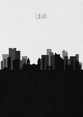 Digital Art - Lima Cityscape Art by Inspirowl Design