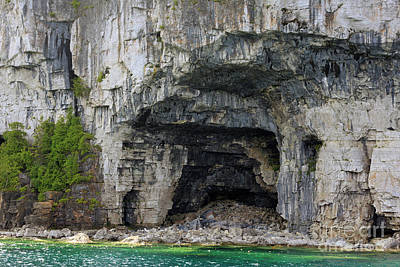 Photograph - Limestone Caves On The Shore Of The Bruce Peninsula Lake Huron by Louise Heusinkveld